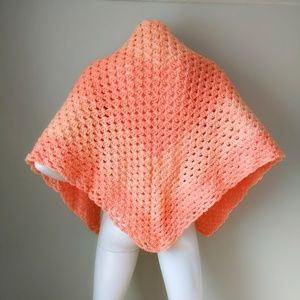 Vtg Handknit Peach Chevron Stripe Crochet Shawl